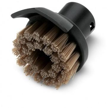 Round brush with dirt scraper
