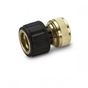 "Brass hose connector 1/2"" and 5/8"" with Aqua Stop"