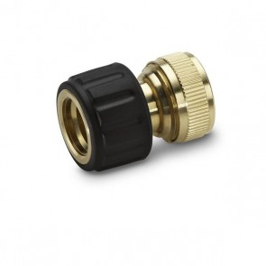 "Brass hose connector 3/4"" with Aqua Stop"