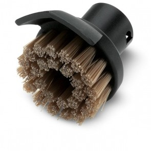 Round brush with dirt scraper